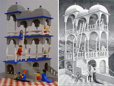 mc escher art recreated  lego bricks  structures