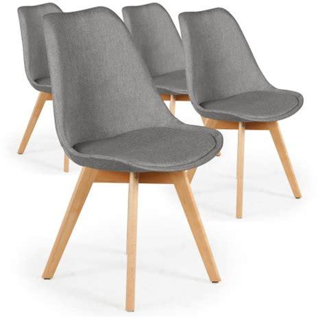 chaise grise tissu lot de 4 chaises scandinaves conor tissu gris