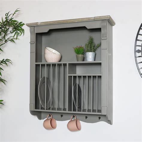 grey wall mounted plate rack