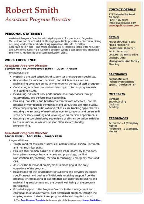 assistant program director resume samples qwikresume