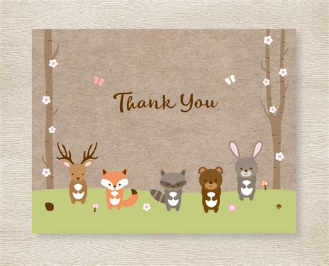animal thank you card template pink woodland forest animals thank you card folded card
