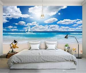 Blue Sky White Clouds Seaside Background Wall Mural 3d ...