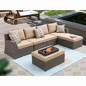 hampton 6 piece patio deep seating sectional by siriotm 4 With outdoor sectional sofa costco