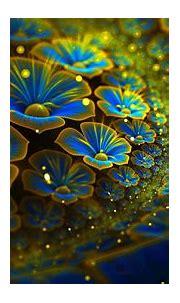 Abstract Fractal Cg Digital-art 3d Colors blue flowers ...
