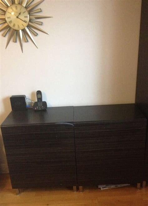 Ikea Besta Cupboard by Ikea Besta Black Brown High Gloss Retro Sideboard Cupboard