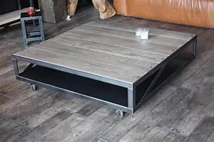table basse en bois et metal industrielle style With table basse en bois gris
