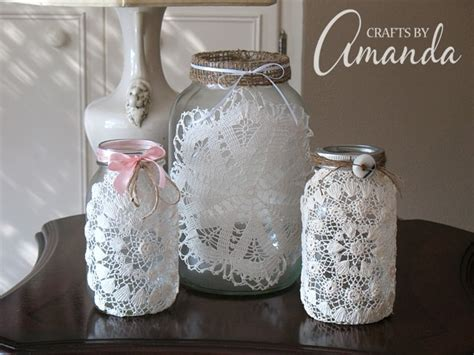 burlap doily luminaries wedding jar lanterns