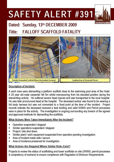 bsu safety alert fall  scaffold fatality