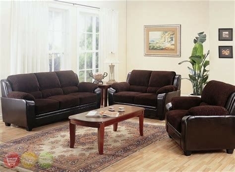 Living Room Settee Furniture by Monika Chocolate Sofa Loveseat Chair Casual 3