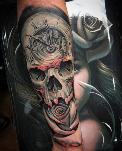 clock skull rose fusion  guys arm  tattoo design ideas