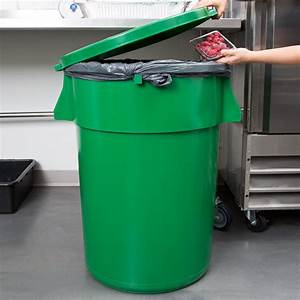 Continental, Huskee, 44, Gallon, Green, Trash, Can, With, Green, Lid