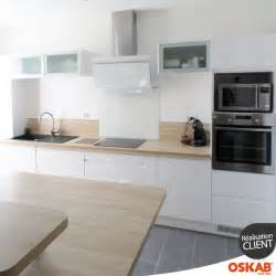 Cuisine Blanc Laqué Et Plan De Travail Bois Clair 1000 id 233 es 224 propos de d 233 coration de cuisine blanche sur