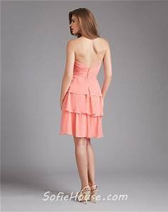 strapless sweetheart short tiered coral chiffon wedding With coral dress for wedding guest