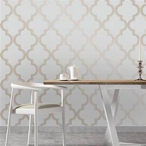 Moroccan Trellis Global Bazaar Grey Beige Removable Wallpaper