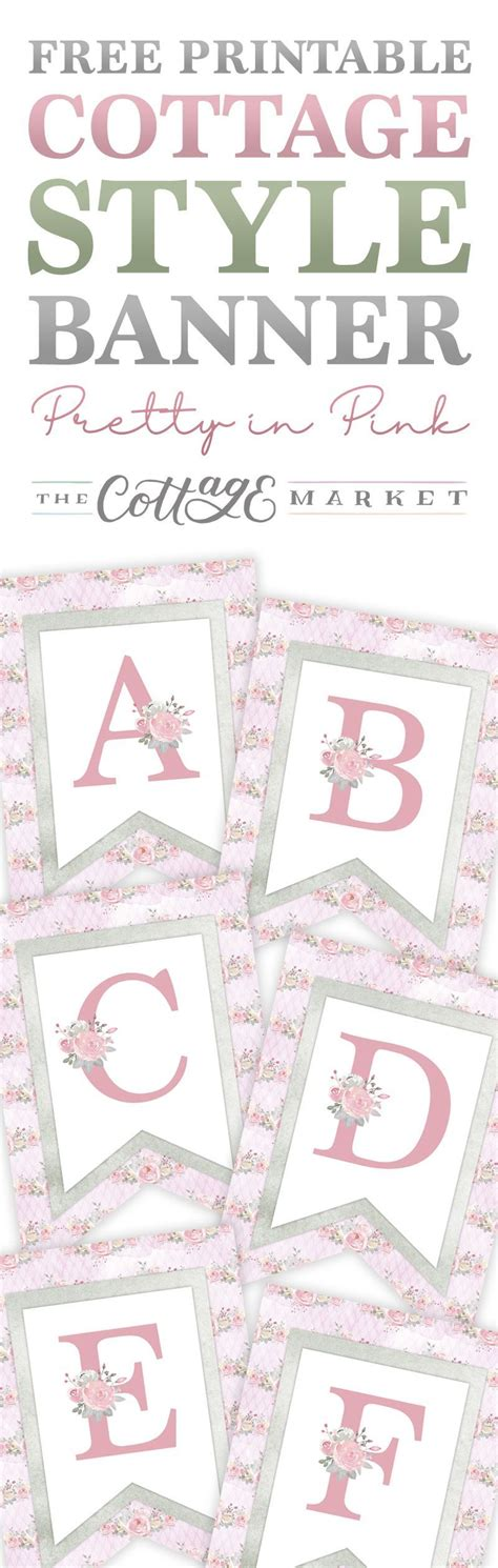 printable cottage style banner pretty  pink