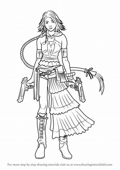 Fantasy Final Drawing Coloring Pages Yuna Draw