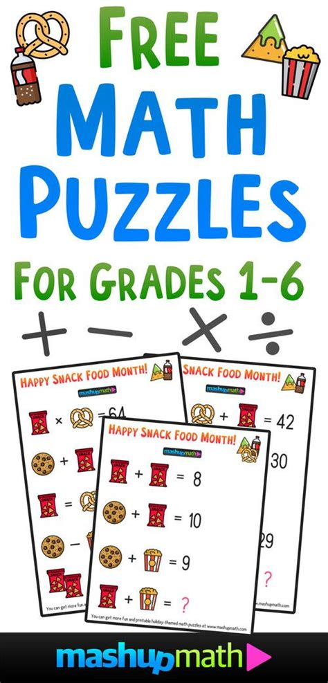 We have over 2500 fun and challenging math puzzles with solutions. Free Math Brain Teaser Puzzles for Kids in Grades 1-6 to Celebrate Snack Food Month! — Mashup ...