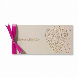 lasercut cream wedding invitation with fuchsia pink bow With laser cut heart wedding invitations uk