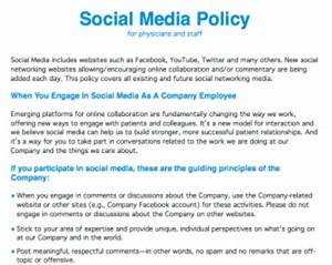 healthcare social media policy for physicians and staff With social media policy template for schools