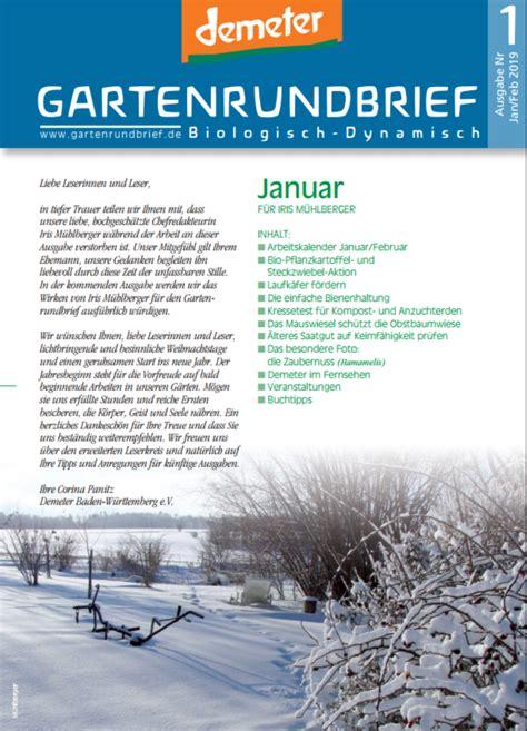 Das Lesen Sie Der Januarfebruar Ausgabe by Gartenrundbrief 1 2019 Gartenrundbrief