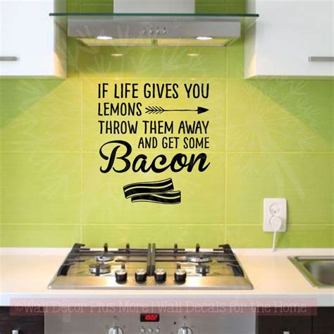 kitchen quotes   bacon inspirational wall decals