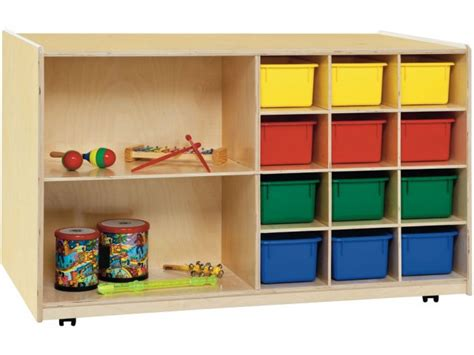 sided classroom cubby storage w colored cubby bins 519 | WDE 16603D