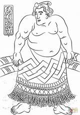 Coloring Sumo Wrestler Pages Utagawa Kuniyoshi Misc Artists Printable sketch template