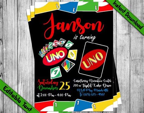 INSTANT DOWNLOAD UNO card game first Birthday Invitation