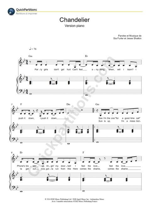 chandelier version piano piano sheet sia