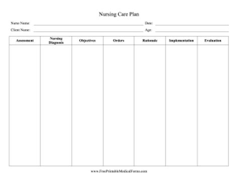 nursing care plan template word printable nursing care plan