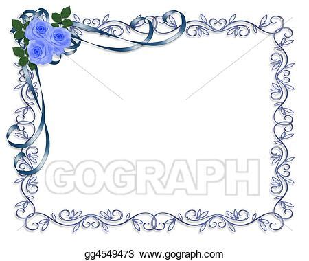 drawing blue roses invitation clipart drawing gg