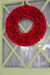 Love my new red wreath on my green door (Smith and Hawken