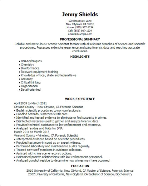 professional forensic scientist templates to showcase your