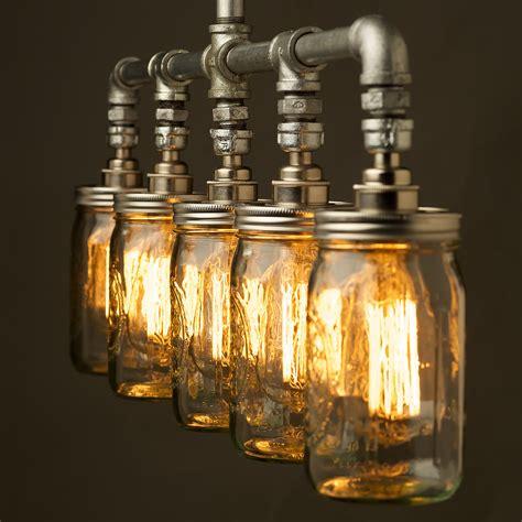 vintage galvanised plumbing pipe widemouth jar chandelier