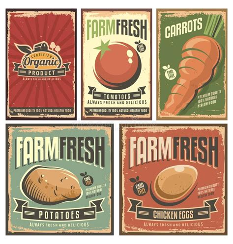 affiche cuisine vintage farm fresh organic products retro tin signs collection