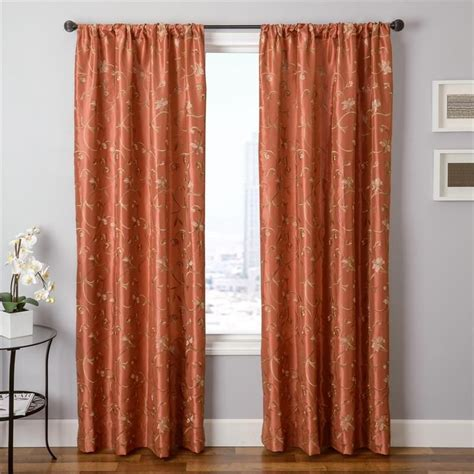 spice colored curtains cleopatria in rust pumpkin orange color embroidery