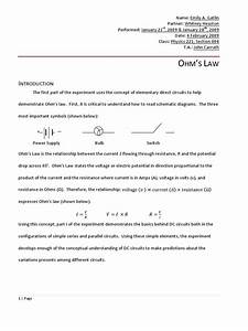 Physics 222 Ohm U0026 39 S Law Lab Report