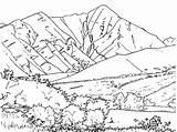 Coloring Pages Mountain Mountains Range sketch template