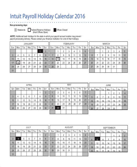 payroll calendar template   excel  document