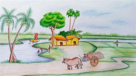 draw scenery  rural life youtube