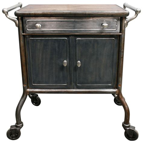 storage cabinet on wheels industrial metal cabinet on wheels with wood top at 1stdibs