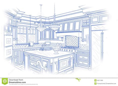 blueprint custom kitchen design drawing  white stock