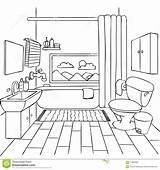 Bathroom Coloring Clipart Illustration Dreamstime sketch template