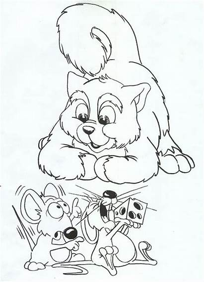 Coloring Pages Cat Mouse Mice Cats Printable