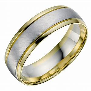 18ct white yellow gold men39s wedding ring ernest jones With mens 18ct gold wedding rings