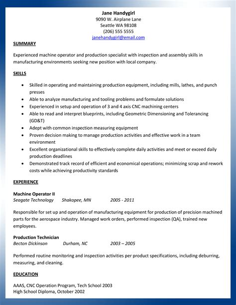 Manual Machinist Resume Exles by Sle Machinist Resume Resume Mfacourses476 Web Fc2