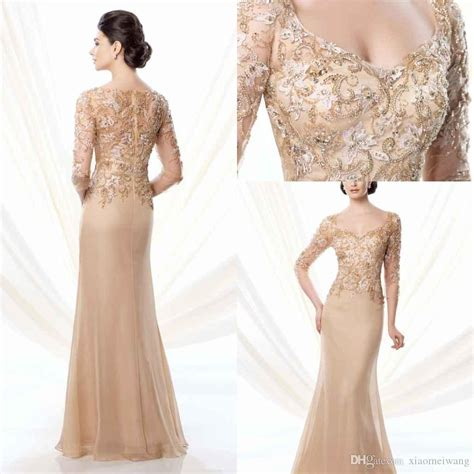 Charming 2015 Evening Dresses Gold Scoop Half Sleeves A ...