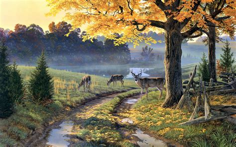 Nature Painting Wallpaper by Nature Painting Path Animals Trees Deer Wallpapers Hd