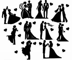 Die Cut Outs Silhouette Wedding Couples shapes x 10 ...