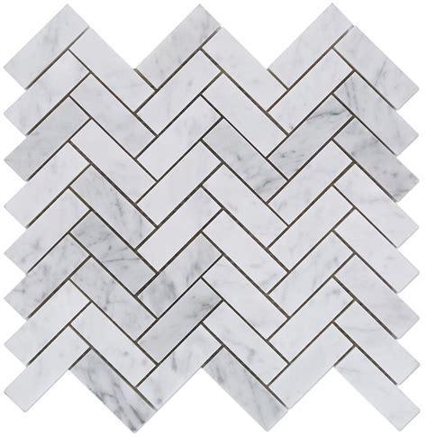 1x3 Italian White Carrara Herringbone Pattern Honed Mosaic